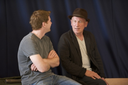 "Damian O'Hare as Tom Joad and Christopher Timothy as Pa Joad in ""The Grapes of Wrath"" at Chichester Festival Theatre. Picture (c) CFT"