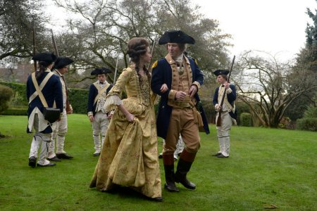 "TIMELESS -- ""The Capture of Benedict Arnold"" Episode 109 -- Pictured: (l-r) Annie Young as Peggy, Damian O'Hare as George Washington -- (Photo by: Sergei Bachlakov/NBC)"